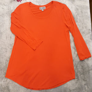 JM Collection Red Orange Long Sleeve Tunic